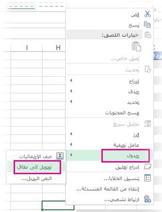 """الخيار """"جدول"""" على القائمة التي تظهر عند النقر بزر الماوس الأيمن"""