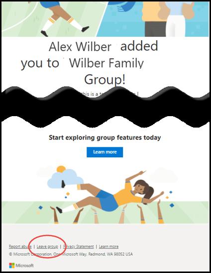 """رسالة ترحيب من مجموعه Outlook.com تعرض اسم الشخص الذي أضافك إلى المجموعة والارتباط """"مغادره المجموعة"""" في أسفل الرسالة."""