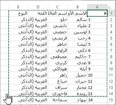 جدول بيانات Excel مع تمييز نطاق