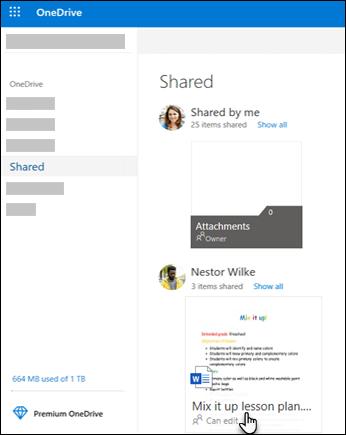 مجلدات OneDrive المشتركة