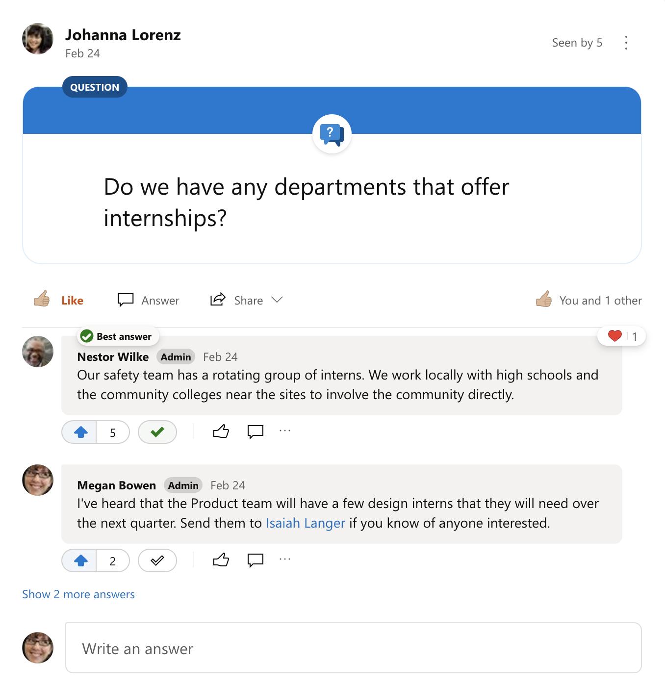 أفضل أجابه علي سؤال Yammer