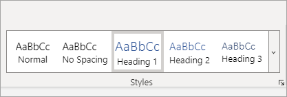 معرض الأنماط في Word Online