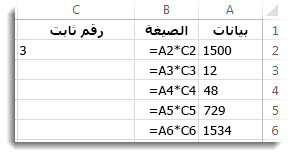 بيانات في العمود A، وصيغ في العمود B، والرقم 3 في الخلية C2