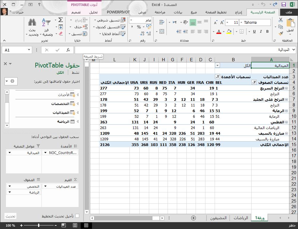 جدول PivotTable مع ترتيب غير مطلوب