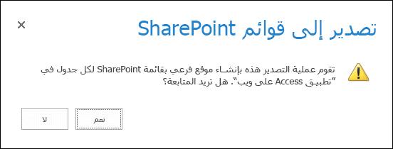 """لقطة شاشة لمربع حوار التأكيد. يؤدي النقر فوق """"نعم"""" إلى تصدير البيانات إلى قوائم SharePoint والنقر فوق """"لا"""" إلى إلغاء عملية التصدير."""