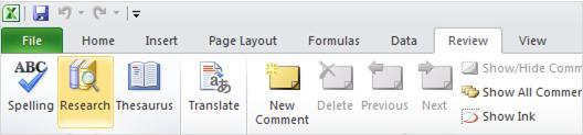 """علامة التبويب """"مراجعة"""" على شريط Excel"""