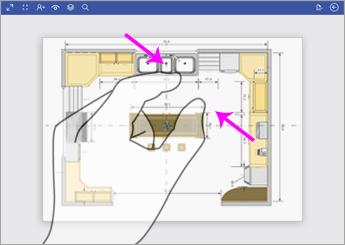 للتصغير، المس الرسم التخطيطي باستخدام إصبعين وضيِّق بينهما.