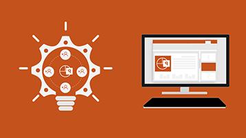 صفحة عنوان المخطط البياني للمعلومات في PowerPoint تتضمن شاشة مع مستند PowerPoint وصورة مصباح