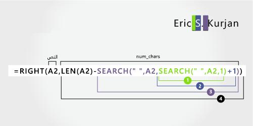 دالة SEARCH الثانية في صيغة لفصل الاسم الأول واسم الأب واسم العائلة