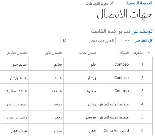 قائمة SharePoint مع عرض ستة سجلات جهات اتصال