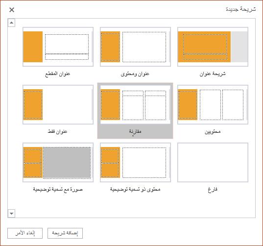 """يحتوي مربع الحوار """"الشريحة الجديدة"""" في PowerPoint Online على العديد من تخطيطات الشرائح للاختيار من بينها"""
