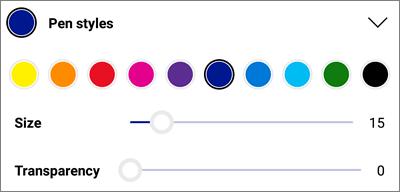 أنماط قلم العلامات في OneDrive ل Android