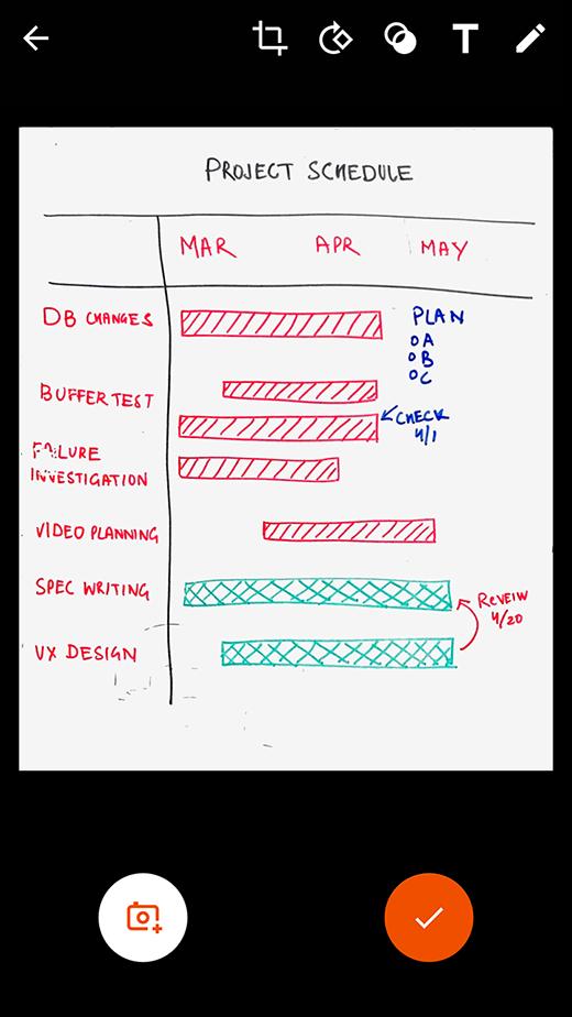 خيارات المراجعة والتحرير في Office Lens لنظام التشغيل Android