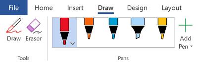 أدوات الكتابة بالحبر في Office 365