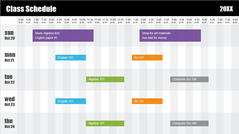 لقطة شاشة لقالب جدول زمني لفصل دراسي