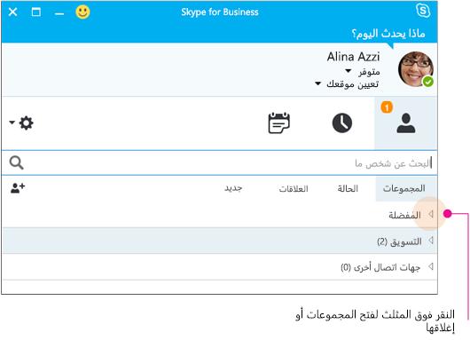 نافذة Skype for Business الرئيسية، النقر فوق المثلث لتوسيع مجموعة أو طيها
