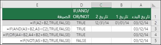أمثلة على استخدام الدالة IF مع الدالات AND وOR وNOT لتقييم التواريخ
