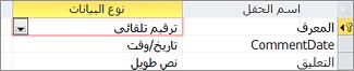 """المفتاح الأساسي """"ترقيم تلقائي"""" المسمى ID في طريقة العرض """" تصميم"""" في جدول Access"""