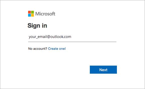 ادخل عنوان البريد الكتروني المقترن ب Office.