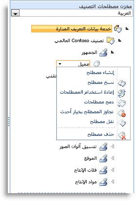 استخدم القائمة لإدارة المصطلحات ضمن مجموعة المصطلحات.