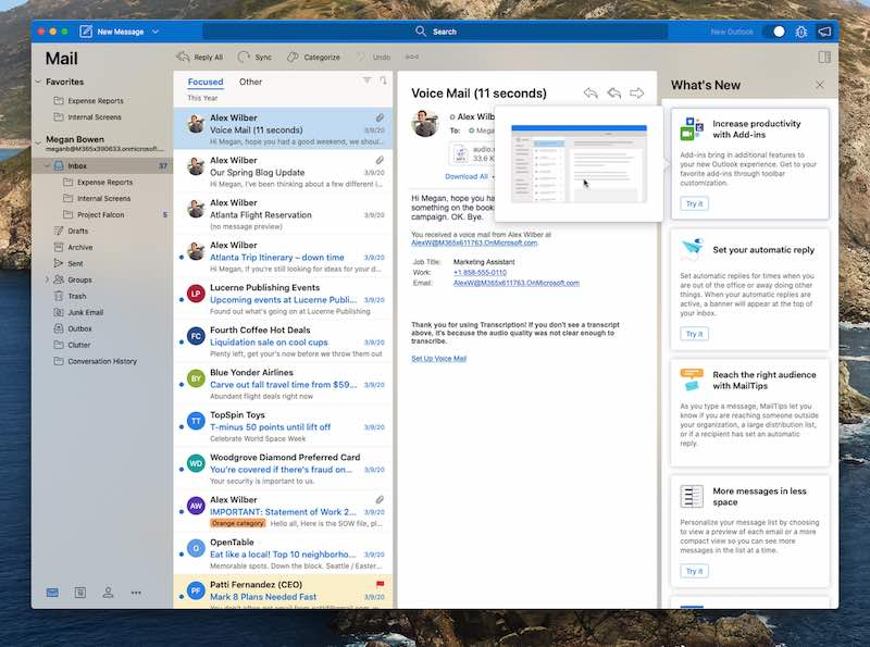 الميزات الجديدة في Outlook جديد