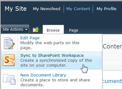 """الأمر """"مزامنة إلى SharePoint Workspace"""" في القائمة """"إجراءات الموقع"""""""