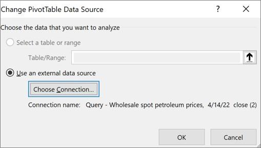 """مربع الحوار """"تغيير مصدر بيانات PivotTable"""""""