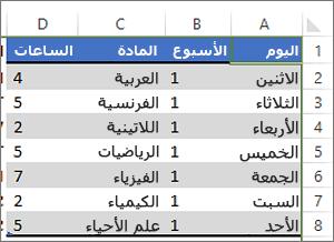 جدول يحتوي على ألوان تم تطبيقها لتغيير الصفوف