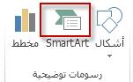 """SmartArt في المجموعة """"توضيحات"""" ضمن علامة التبويب """"إدراج"""""""