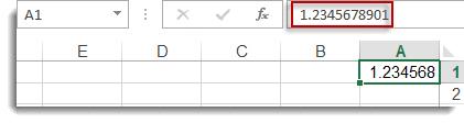 رقم تم تقريبه في الخلية A1، مع إظهار الرقم الكامل في شريط الصيغة