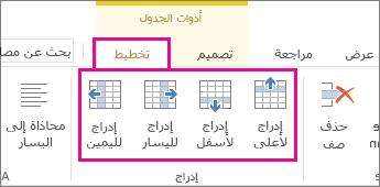 صورة لخيارات التخطيط المتعلقة بإضافة صفوف وأعمدة في الجداول