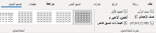 """المجموعة """"أنماط جدول تصميم الجدول"""" في Outlook for Windows"""