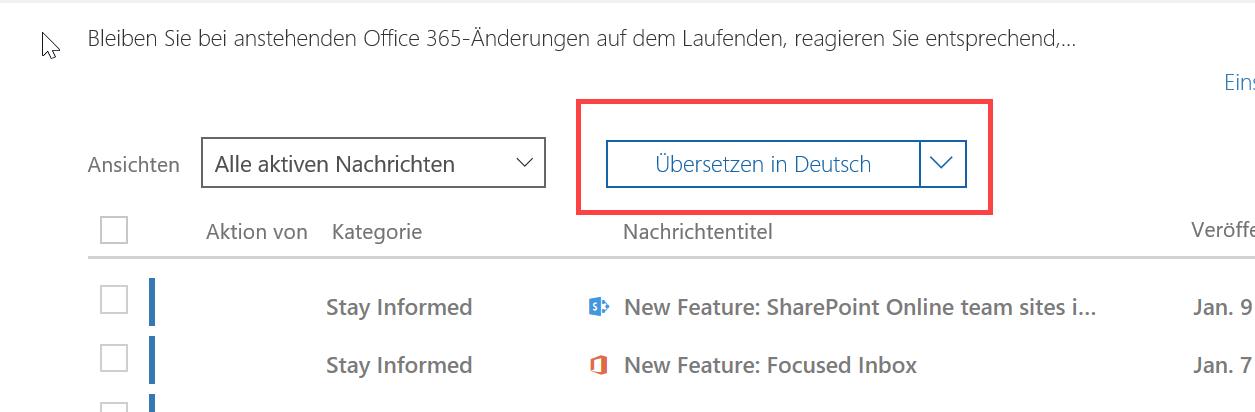 """لقطة الشاشة: """"مركز الرسائل"""" مع تمييز الترجمة."""