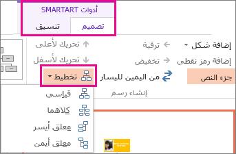 خيارات التخطيط لمخطط هيكلي يضم رسم SmartArt