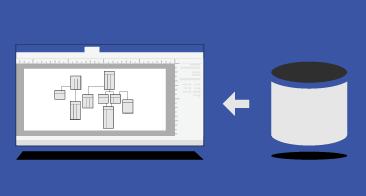 أيقونة قاعدة البيانات وسهم ورسم Visio تخطيطي يمثل قاعدة البيانات