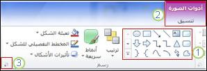 رسم تخطيطي للشريط في PowerPoint 2010.