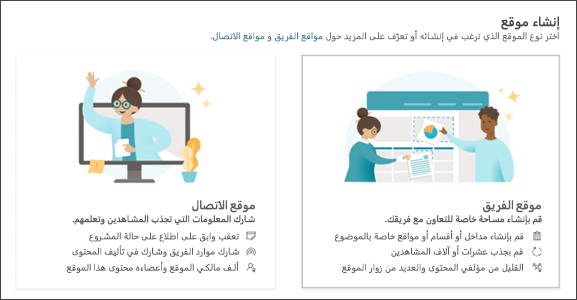 صورة خيار إنشاء موقع فريق أو موقع اتصالات في SharePoint.