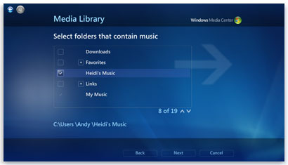 صفحة مكتبة الوسائط في Windows Media Center