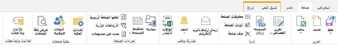 """لقطة شاشة لعلامة التبويب """"الصفحة"""" التي تحتوي على أزرار متعددة لتحرير صفحات النشر وحفظها وإيداعها وسحبها"""