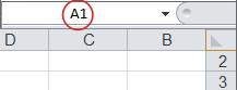 """""""مربع الاسم"""" يعرض A1 لإظهار العمود A والصف 1"""