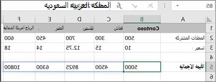 مثال علي صيغه الصفيف لحساب نتائج متعددة