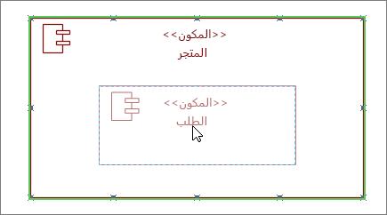 شكل النظام الفرعي للمخزن مع سحب مكون الطلب فوقه