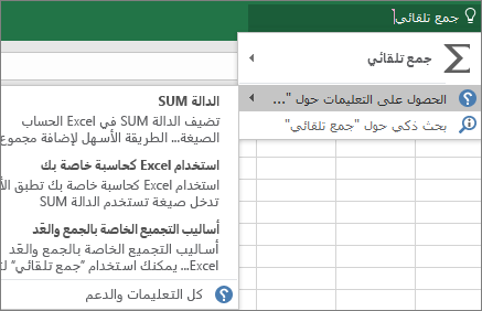الحصول على تعليمات في Excel