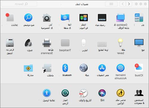 لقطة شاشة لتفضيلات النظام في جهاز Mac