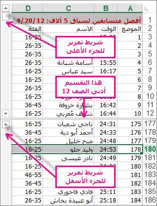 استخدام التقسيم لعرض منطقتين من الصفوف