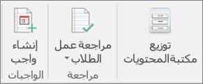 """صف أيقونات يعرض قائمة """"توزيع مكتبة المحتويات""""،"""