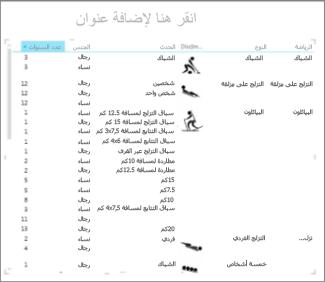 مصفوفة في Excel مفروزة حسب السنوات