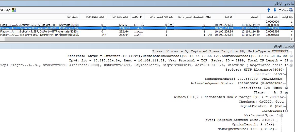 تمت تصفية تتبع الشبكة في Netmon باستخدام الأعمدة المضمّنة.