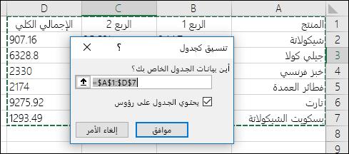 مثال لاستخدام خيار «التنسيق كجدول» في علامة التبويب «الشريط الرئيسي» لتحديد نطاق البيانات تلقائياً