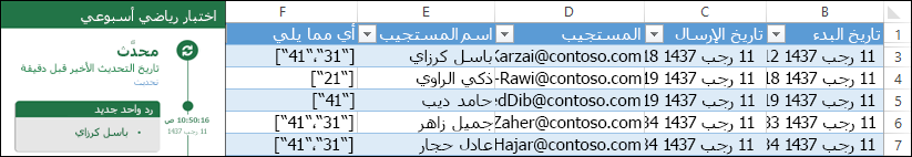 عرض نتائج الاختبار في مصنف Excel
